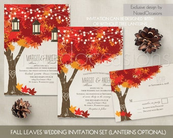 Fall Wedding Invitations Autumn Oak Tree Wedding with Rustic Tree & Leaves Fall Wedding Invitations with initials carved in tree Fall Leaves