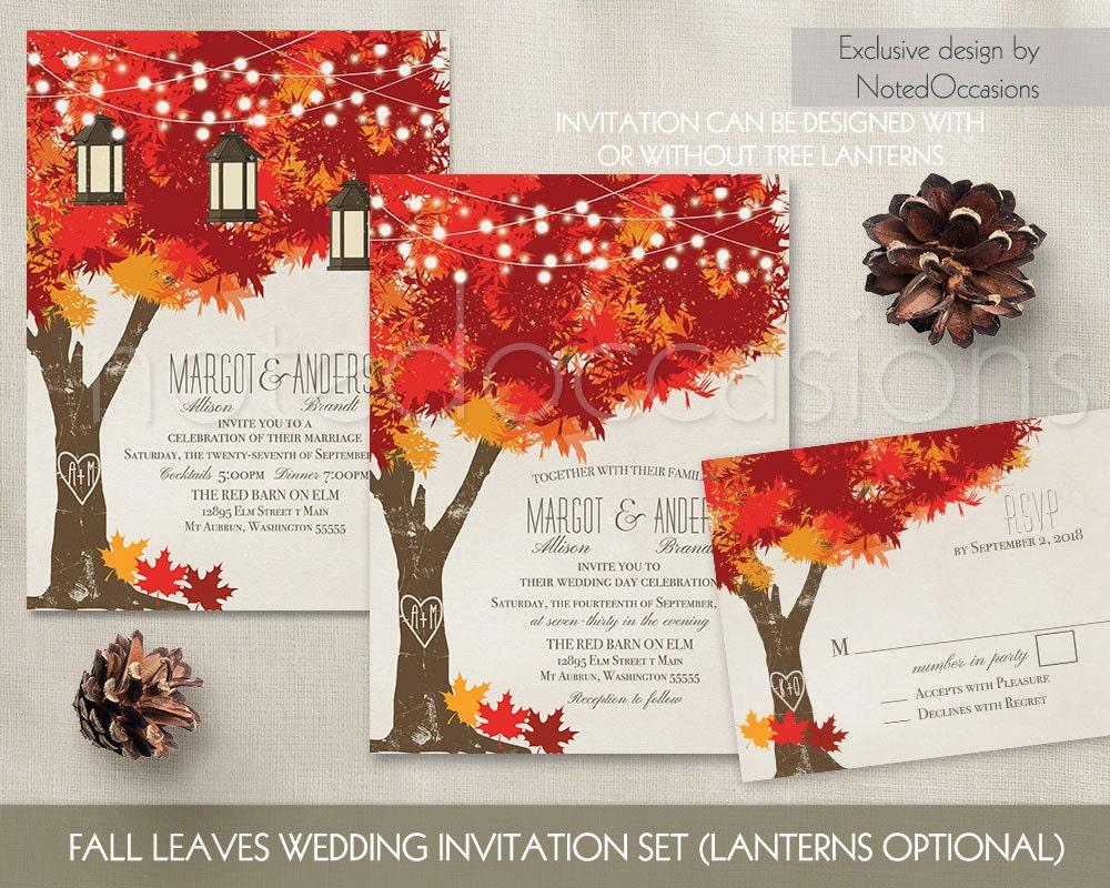 Fall Wedding Invitations Autumn Oak Tree Wedding with Rustic | Etsy