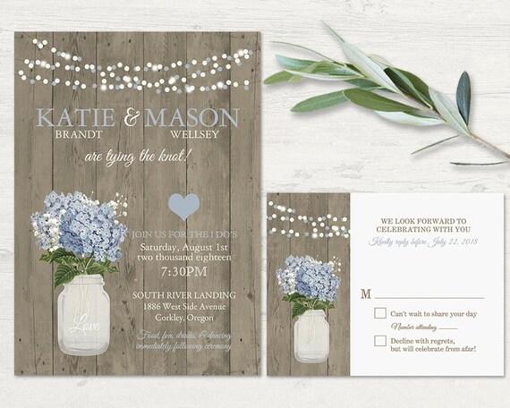 Printable Mason Jar Wedding Invitation Rustic Wedding French Etsy