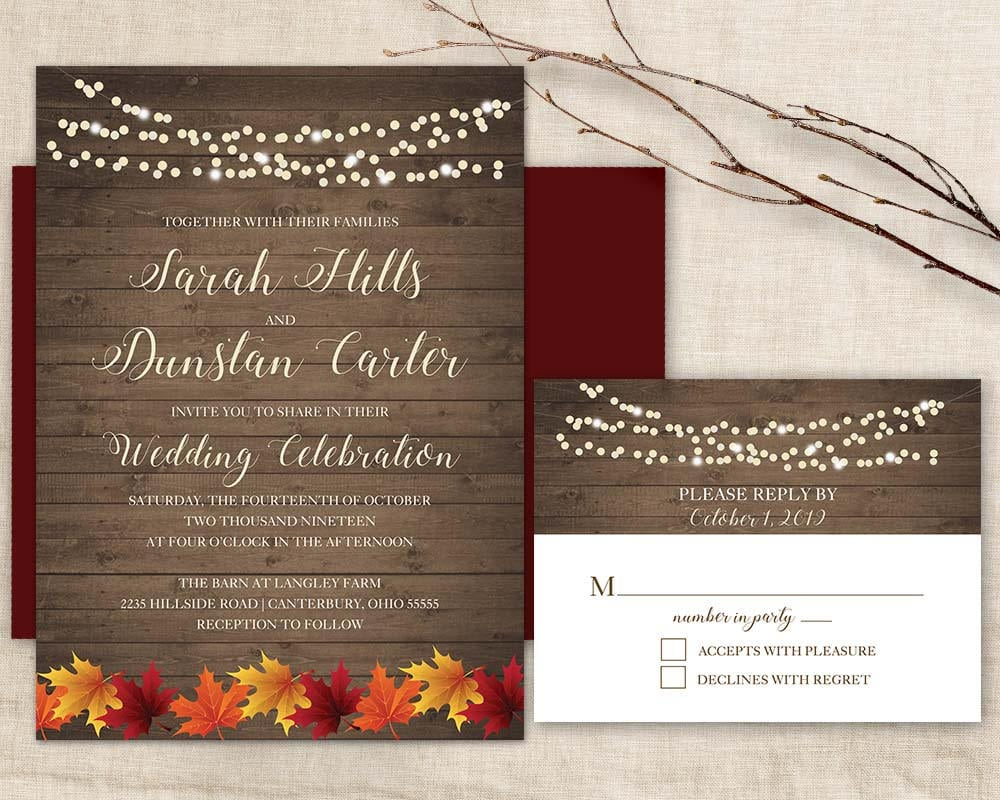 Fall Wedding Invitatio Rustic Autumn wedding invitation Set | Etsy