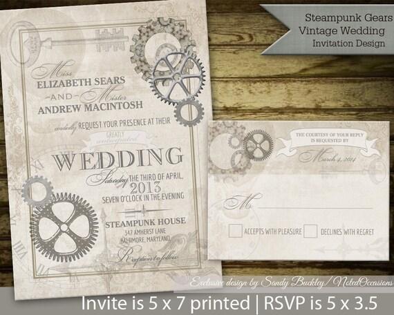 Steampunk Vintage Wedding Invitation Printable Set Rsvp Gears Etsy