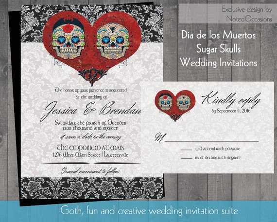 Day Of The Dead Wedding Invitations: Items Similar To Sugar Skull Wedding Wedding Invitations
