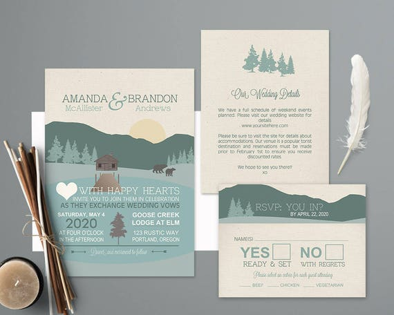Mountain Wedding Invitations Rustic Nature Invitation Printable Forest Woodlands Template Outdoor Cabin