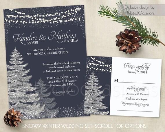 Winter Wedding Invitation Template Set Rustic Christmas Etsy