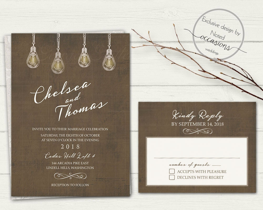 Industrial Wedding Invitation Industrial Chic Wedding Invites | Etsy