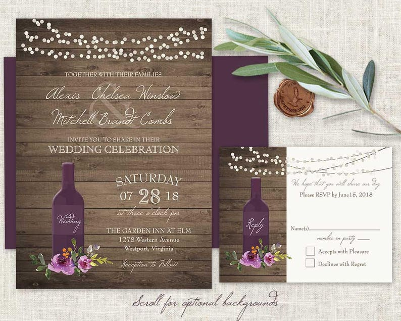 1c8c42154afe Vineyard Wedding Invitation Set Rustic Winery Wine Bottle