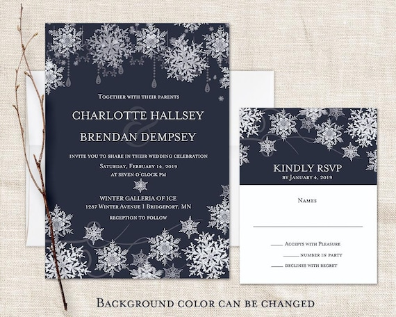 winter wedding invitations snowflake wedding printable navy etsy