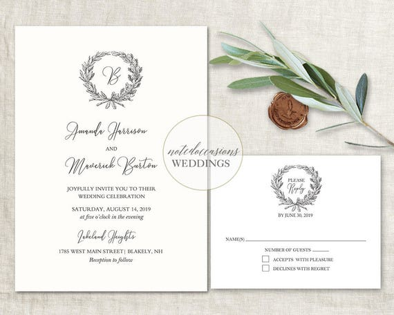 Monogram Wreath Wedding Invitation Wedding Monogram Wedding Etsy