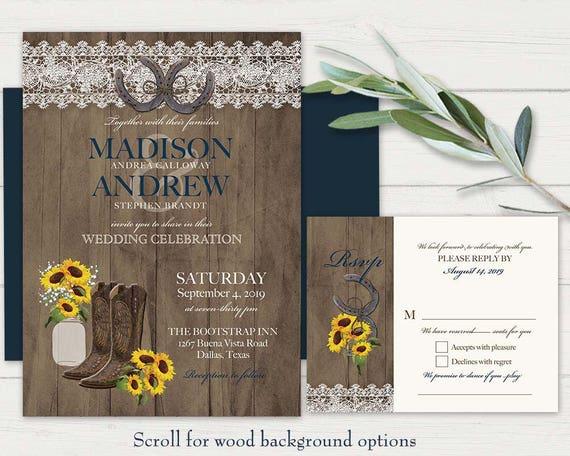Cowboy Boot Wedding Invitations: Rustic Wedding Invitation Set Printable Sunflower Wedding