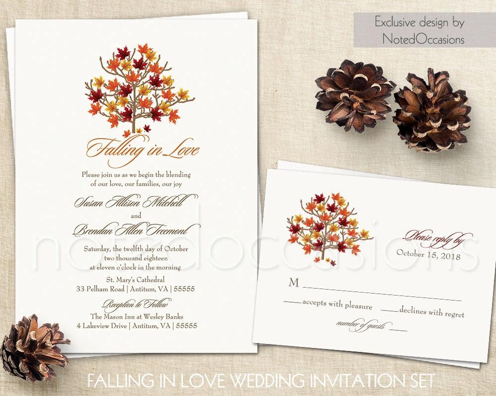 Homemade Fall Wedding Invitations: Fall Wedding Invitations Autumn Wedding Invite And RSVP