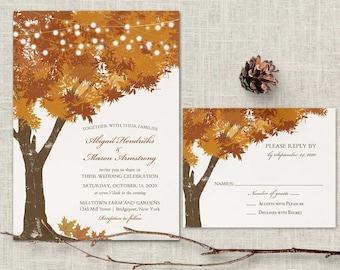 Rustic Fall Wedding Invitations Template Rust Autumn Oak Tree Wedding Rustic Tree Orange Leaves Fall Invitation Digital Printable Wedding