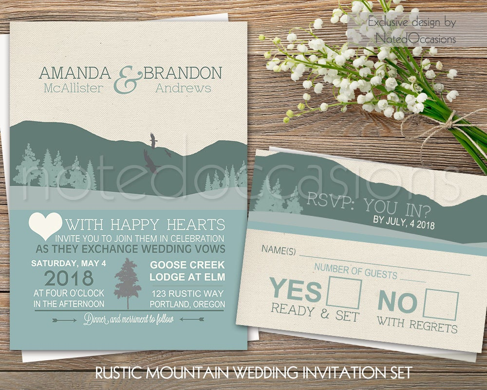 Camping Wedding Invitations: Mountain Wedding Invitation Set Rustic Wedding Outdoor