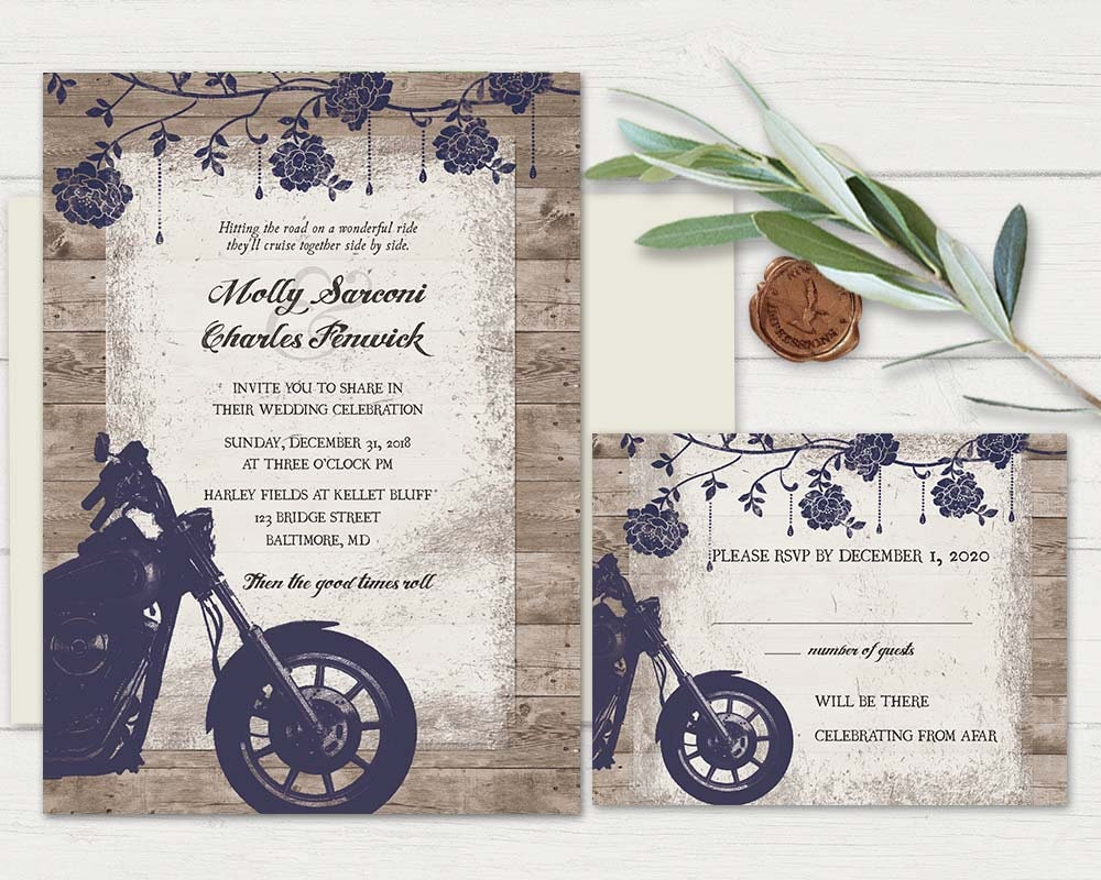 Motorcycle Wedding Invitations Biker Bride Wedding Invitations