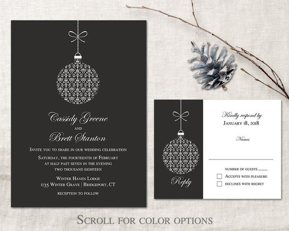 winter wedding invitation printable set christmas wedding etsy