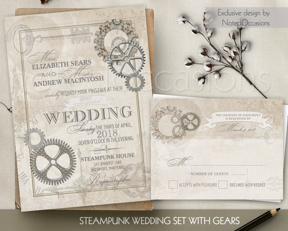 Steampunk vintage wedding invitation printable set rsvp gears etsy image 0 maxwellsz