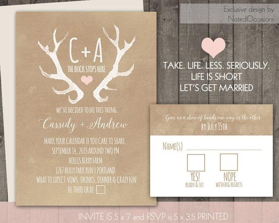 Deer Wedding Invitations: Rustic Wedding Invitation Set Deer Antlers Blush Casual