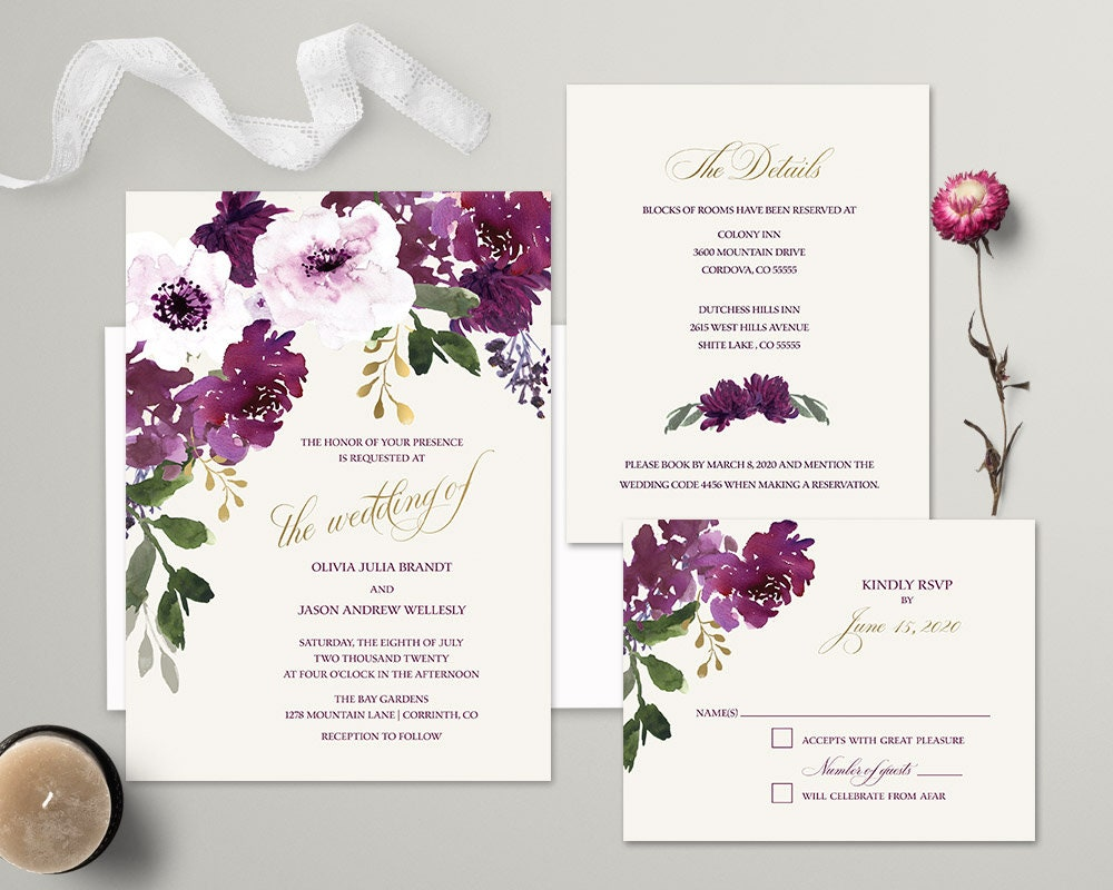 Boho Chic Wedding Invitations: Boho Chic Wedding Invitation Printable Set Bohemian