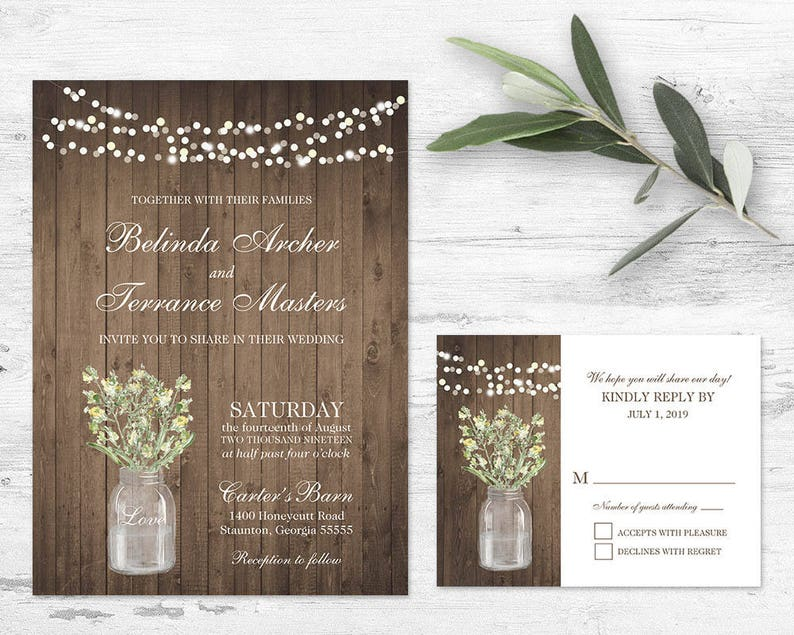 Rustic Wedding Invitation Printable Set Rustic Greenery Wildflowers Mason Jar Wedding Country Wedding Floral printable Template Digital file