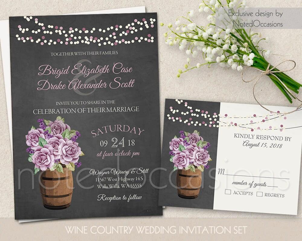 Purple Rustic Wedding Invitations: Rustic Wedding Invitation Set Printable Purple Floral Wine