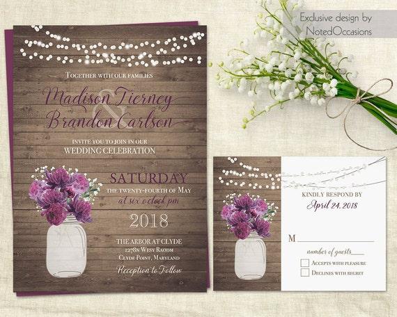 Rustic Wedding Invitation Template Mason Jar Wedding Etsy