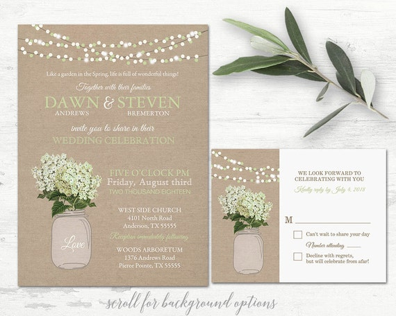 Cottage Mason Jar Wedding Invitation: Mason Jar Wedding Invitation Printable Set Rustic Mason