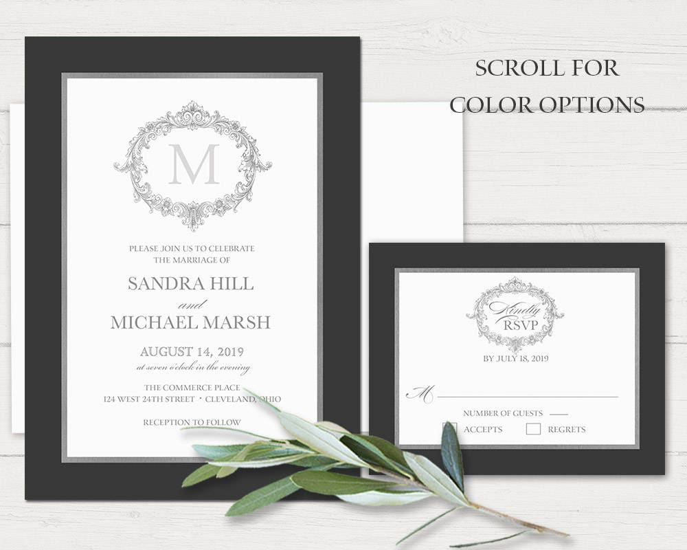 Formal Wedding Invitation Templates: Monogram Wedding Invitation Template Printable Formal