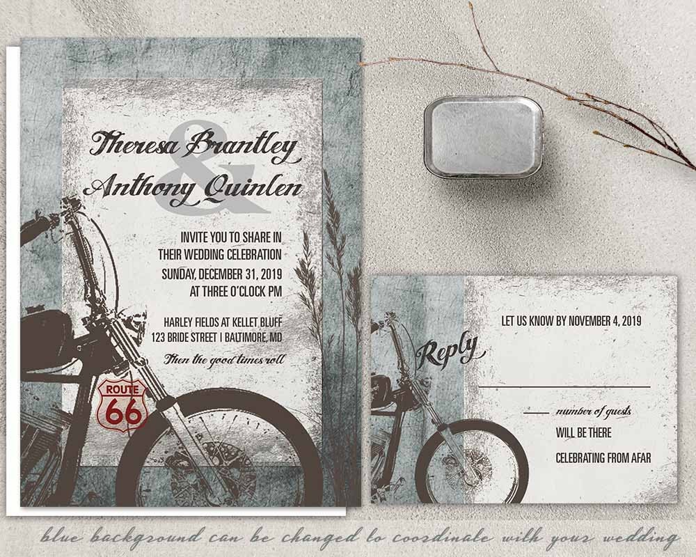 Motorcycle Wedding Invitation Biker Bride Wedding Invitations   Etsy