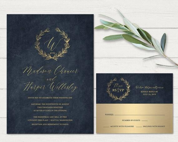 Navy Blue And Gold Wedding Invitations: Navy Blue Gold Wedding Invitations Printable Industrial