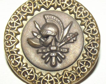 Antique Button ~ Large Metal Picture Button ~ Victorian Metal Picture Button Heraldry Medieval