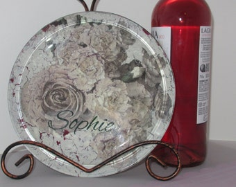 Pet Plate for Sophie Vintage White Roses Carnations glass plate
