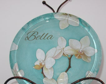 Bella Pet Food plate Pig Dog Cat Food glass /Tiffany Blue w Orchids