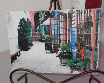 OOAk Princeton NJ Side Street Watercolor Transfer on Canvas