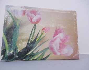 OOAK Faded Pink Tulips watercolor on Canvas