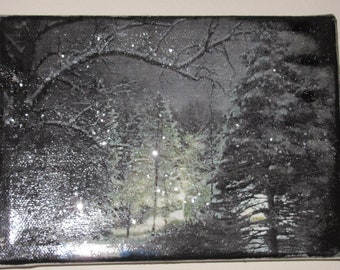 OOAK Digital Watercolor Snow on Night Trees w/ Glitter Mini Canvas
