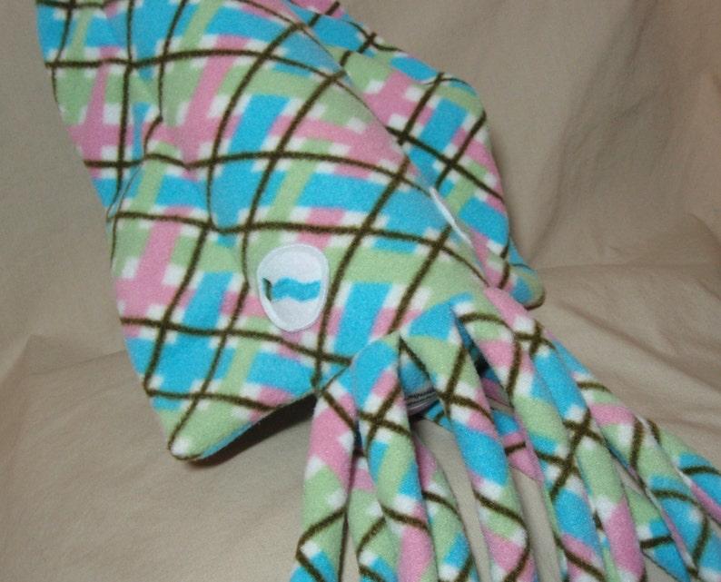 Isabelle the Pink Plaid Fleece Cuddlefish Ocean Marine Plush Stuffed Animal