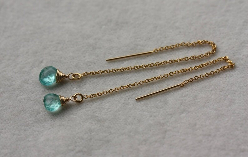 Neon Blue-Green Apatite Ear Threaders 14k Gold Filled