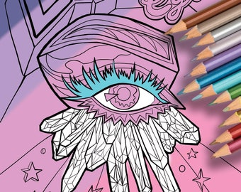 Magic Coloring Page, DiscoEyes, crystals, all seeing eye,  digital download for all ages!