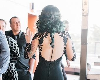 Black Lace Wedding Dress, Black Wedding Dress, Alternative Wedding Dress, Gothic Wedding Dress, Black Gown