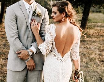 Lace Wedding Dress, Open Back Wedding Dress, Low V-back Dress, Boho Wedding Dress, Bohemian Wedding Dress, Wedding Dress with Sleeves
