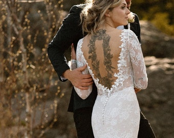 Wedding Dress, Lace Wedding Dress, Boho Wedding Dress, Bohemian Lace Wedding Dress, Lace Wedding Dress with Sleeves, Open Back Wedding Dress