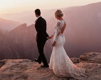 Lace Wedding Dress, Open Back Wedding Dress, Boho Wedding Dress, Long Sleeve Wedding Dress, Bridal Gown, Wedding Dress