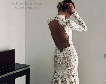 Open Back Wedding Dress, Lace Wedding Dress, Boho Wedding Dress, Wedding Dress with Long Sleeves, Long Sleeve Wedding Dress