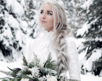 Winter Wedding Dress, Turtle Wedding Dress, Modest Wedding Dress, Lace Wedding Dress, Long Sleeve Wedding Dress