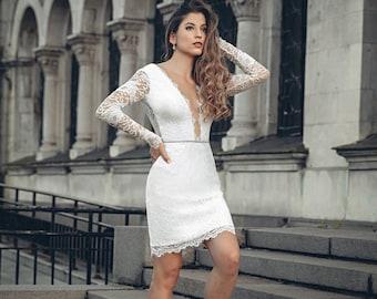 Short Wedding Dress, Short Lace Dress, Knee Wedding Dress, Enagement Dress, White Lace Dress, Sleeved Wedding Dress, Custom Wedding Dress