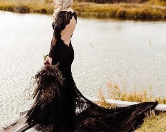 Black Wedding Dress, Gothic Wedding Dress, Alternative Wedding Dress, Black Lace Wedding Dress, Sexy Black Dress