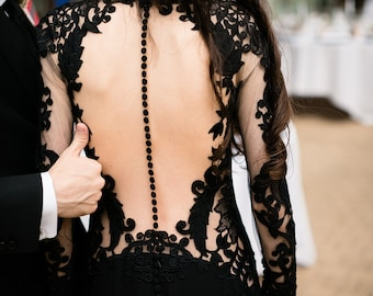 Black Wedding Dress, Black Lace Wedding Dress, Black Lace Gown, Gothic Wedding Dress, Alternative Dress, Twilight Wedding Dress