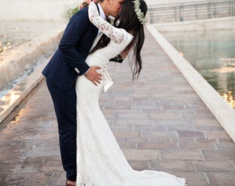 French Lace Wedding Gown with Scalloped Boat Neckline and Buttoned Back