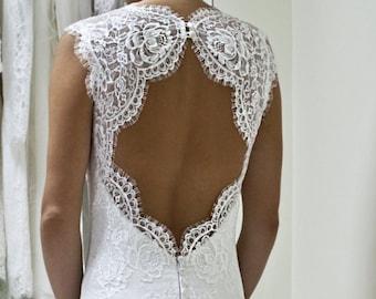 Short Lace Wedding Dress, Short Wedding Dress, Keyhole Back Wedding Dress, Open Back Wedding Dress, White Lace Dress, Reception Dress