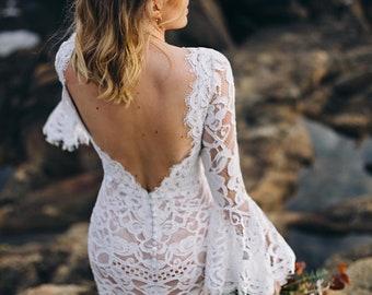 Boho Wedding Dress, Bell Sleeves Wedding Dress, Bohemian Wedding Dress, Long Sleeve Wedding Dress, Lace Wedding Dress, Custom Wedding Dress