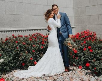 Fully Lined Lace Wedding Dress, Long Sleeve Wedding Dress, Bohemian Lace Wedding Dress, Long Train Dress